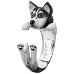 Husky Dog Sterling Silver 925 Enamel Customizable Ring