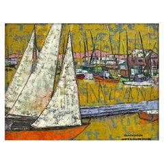 "Hutchinson ""Boats in Harbor"", Expressionist Acrylic Painting, 1950s"