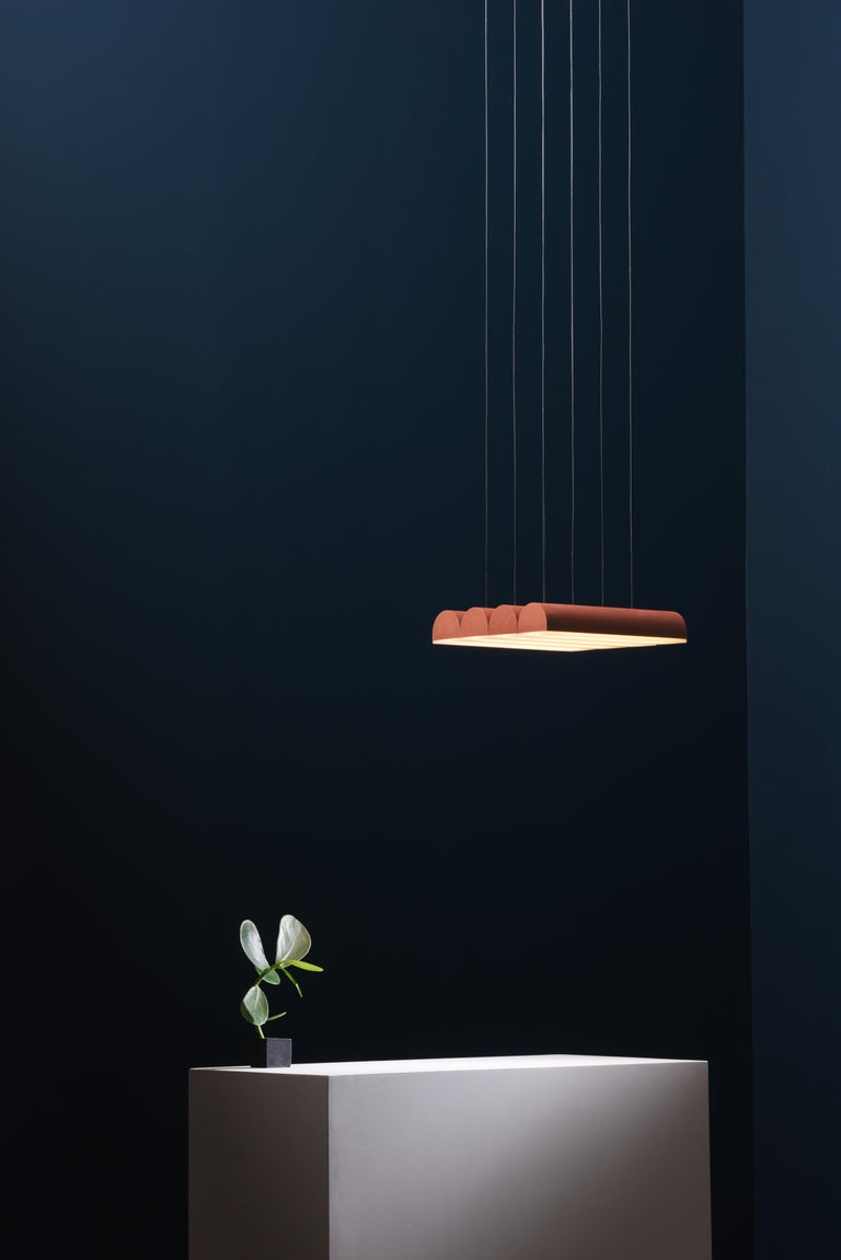Powder-Coated Hutchison 04, Terracotta Pendant Light For Sale