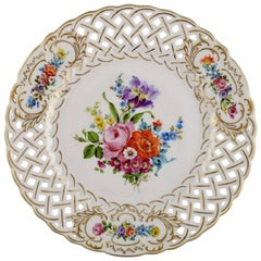 Hutschenreuther Dinner Plate in Openwork Porcelain with Hand Painted Flowers
