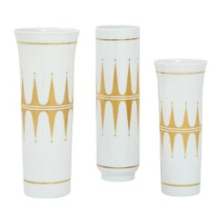 Hutschenreuther Porcelain Vases Gold White Signed, Germany, 1960s
