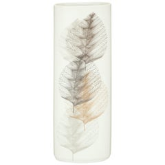 Hutschenreuther Selb Leaf Vase, Porcelain, White, Grey and Gold Signed