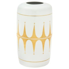 Hutschenreuther Vase, Gold and White Porcelain, Signed