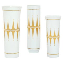 Hutschenreuther Vases, Porcelain, Gold and White, Signed