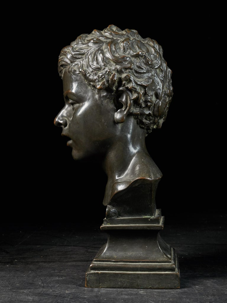 This is a lovely 20th century bronze bust signed by the sculptor Van Hoeter (1871-). The bust depicts a quite unhappy young man. The young man is tilting his head slightly to the left. His hair is sculpted with a lot of natural waves. Overall it is