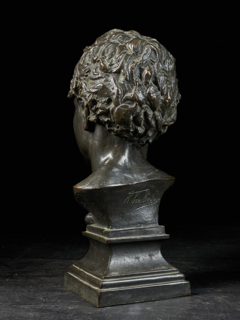 Classical Greek H.Van Hoeter, Bronze Buste of a Young Man, Signed For Sale