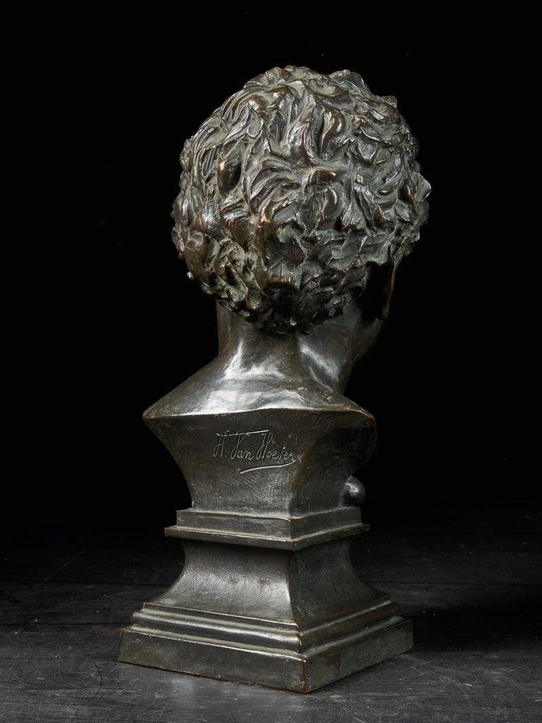 Belgian H.Van Hoeter, Bronze Buste of a Young Man, Signed For Sale