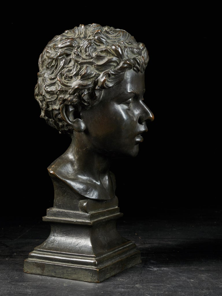 Hand-Crafted H.Van Hoeter, Bronze Buste of a Young Man, Signed For Sale