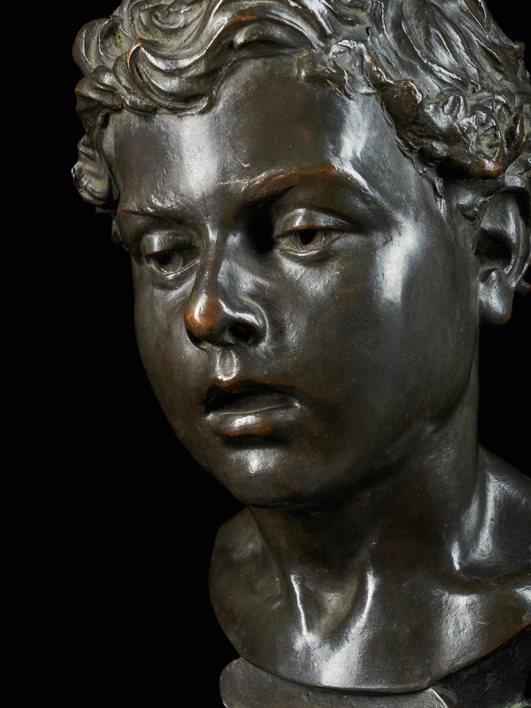 H.Van Hoeter, Bronze Buste of a Young Man, Signed For Sale 1