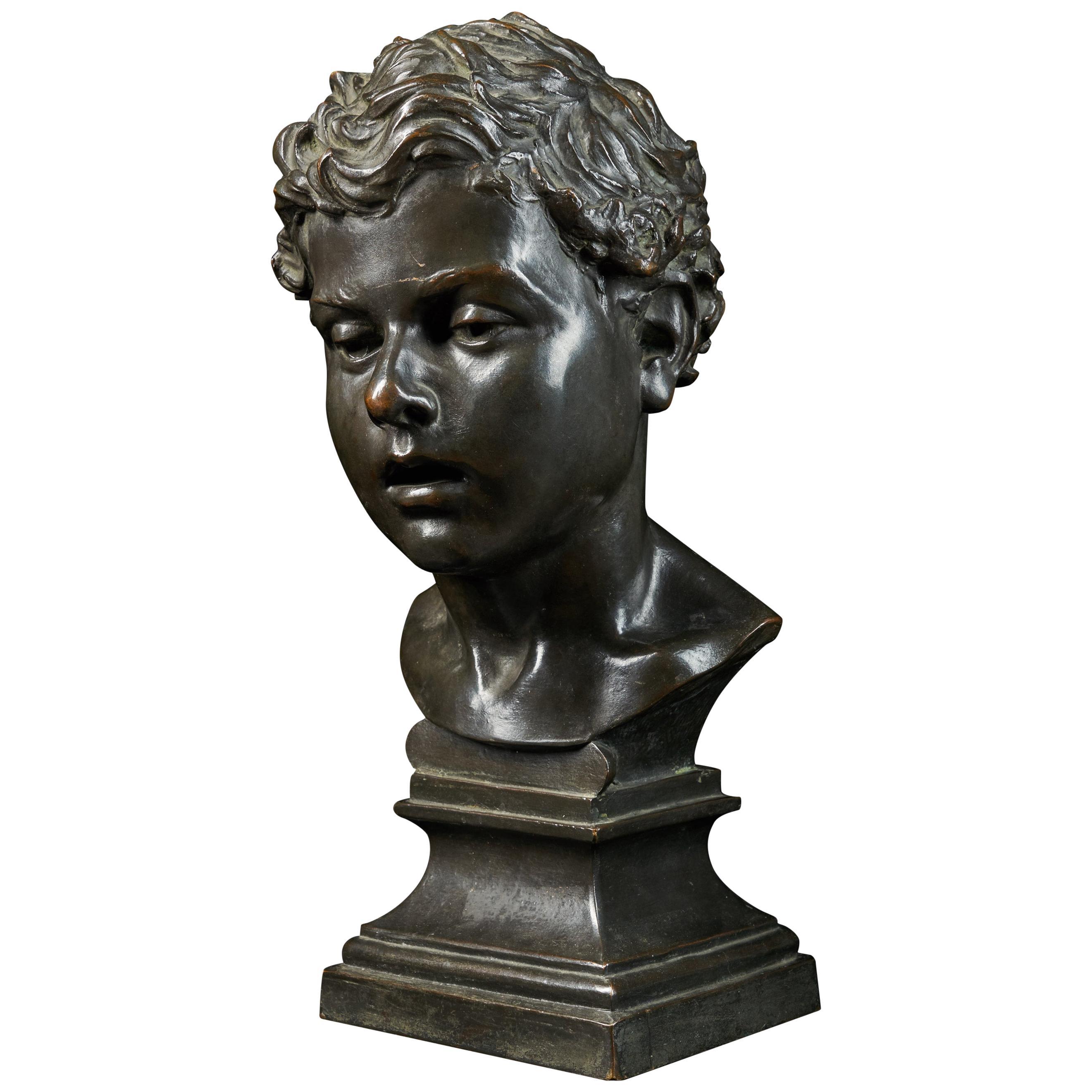 H.Van Hoeter, Bronze Buste of a Young Man, Signed