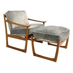 Hvidt and Mølgaard-Nielsen FD-130 Teak Chair and Ottoman in Cowhide