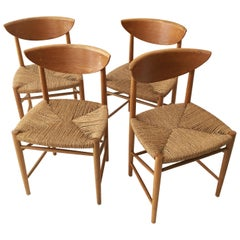 Hvidt and Molgaard-Nielsen Set of Four Oak and Cord Chairs, Denmark, 1950s