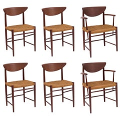 Hvidt & Mølgaard-Nielsen Teak and Cord Dining Chairs, Set of 6