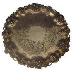 Hw & Co. English Sterling Silver Salver Tray with Grapes Footed, circa 1849