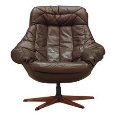 H.W Klein Armchair Vintage 1970s Leather Brown