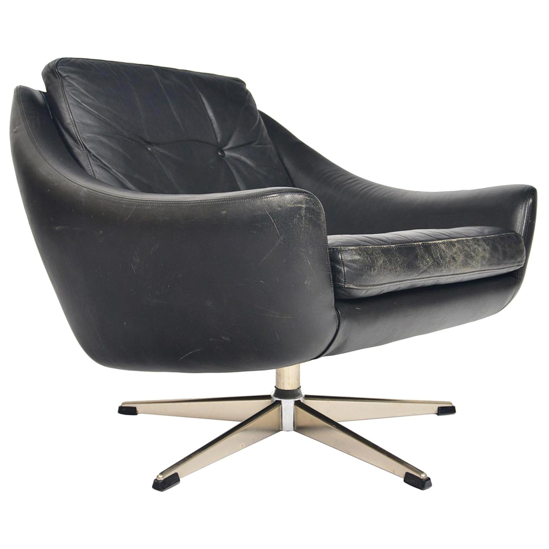 H.W. Klein Black Leather Lowback Swivel Lounge Chair