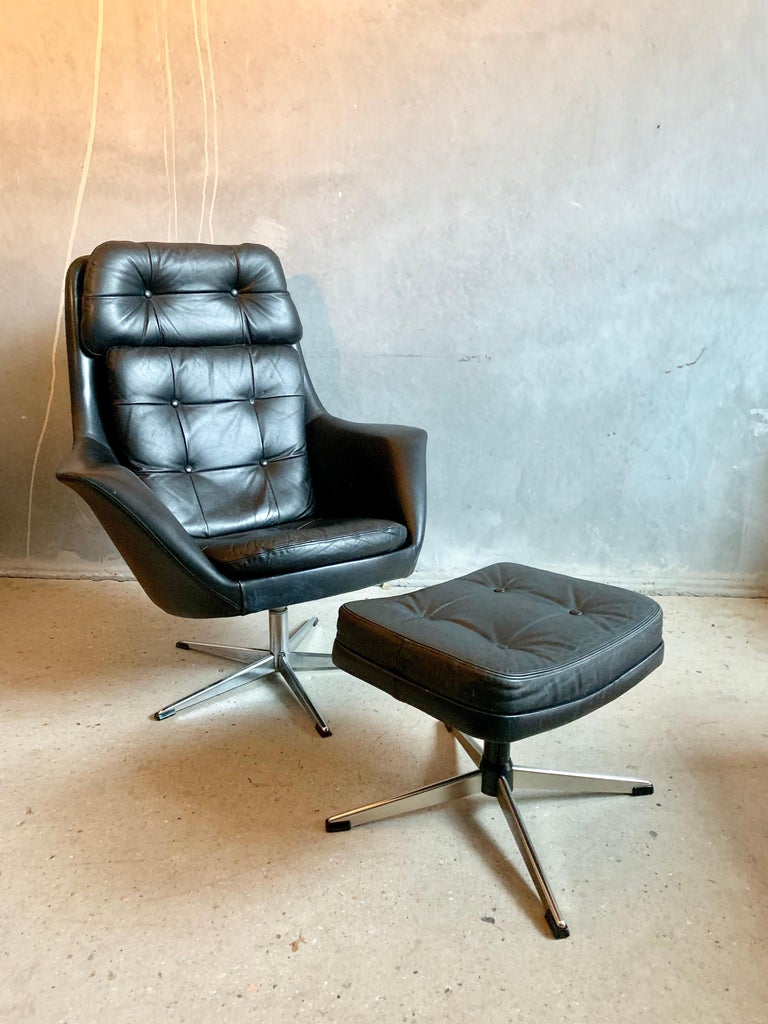 HW Klein Black Leather Swivel Armchair by Bramin with Foot Stool For Sale 1