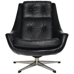 H.W. Klein Black Leather Swivel Lounge Chair