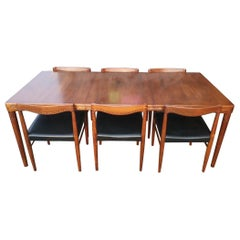 HW Klein, Bramin Scandinavian Extending Dining Table and Six Chairs with Carving