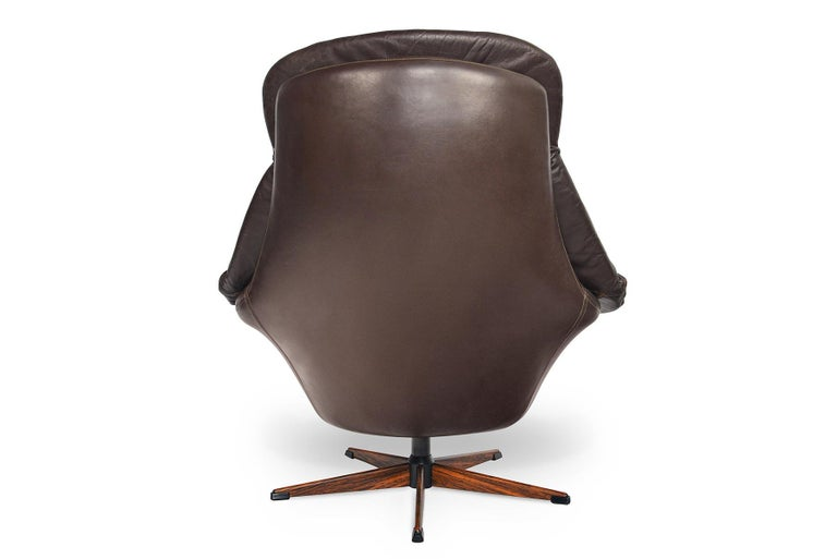Danish H.W. Klein Brown Leather Swivel Chair For Sale