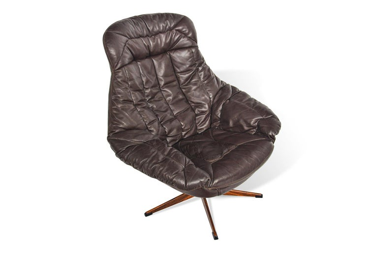 20th Century H.W. Klein Brown Leather Swivel Chair For Sale