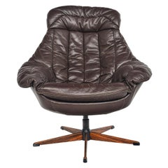 H.W. Klein Brown Leather Swivel Chair