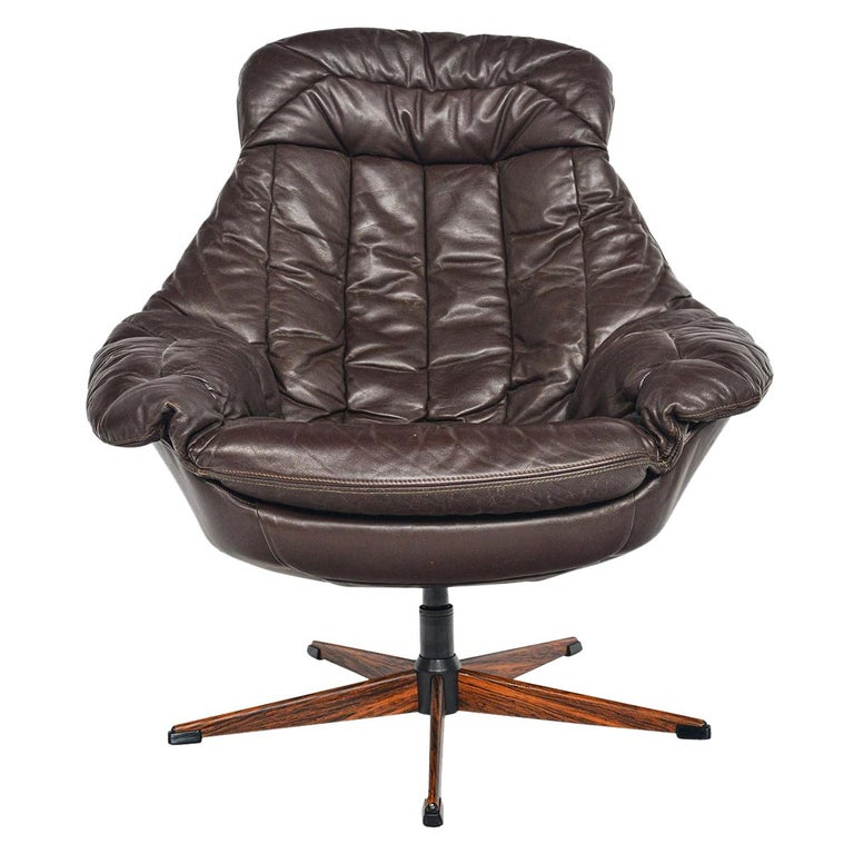 H.W. Klein Brown Leather Swivel Chair For Sale
