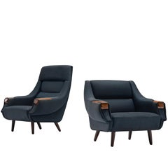 H.W. Klein Danish Pair of Lounge Chairs in Navy Fabric