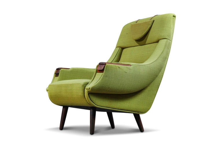 Origin: Denmark Designer: H.W. Klein Manufacturer: BraminB Era: 1960s Dimensions: 34? wide x 33? deep x 38.5? tall  Condition: In great original condition with wear to the fabric. Price includes restoration (upholstery / new foam) in your