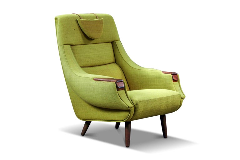 Mid-Century Modern H.W. Klein Highback Armchair with Rosewood Paws For Sale