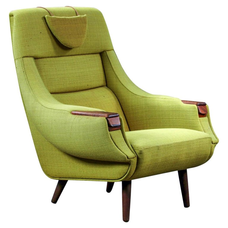 H.W. Klein Highback Armchair with Rosewood Paws For Sale