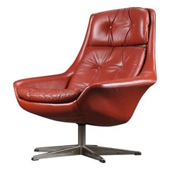 H.W. Klein Highback Swivel Chair in Red Leather