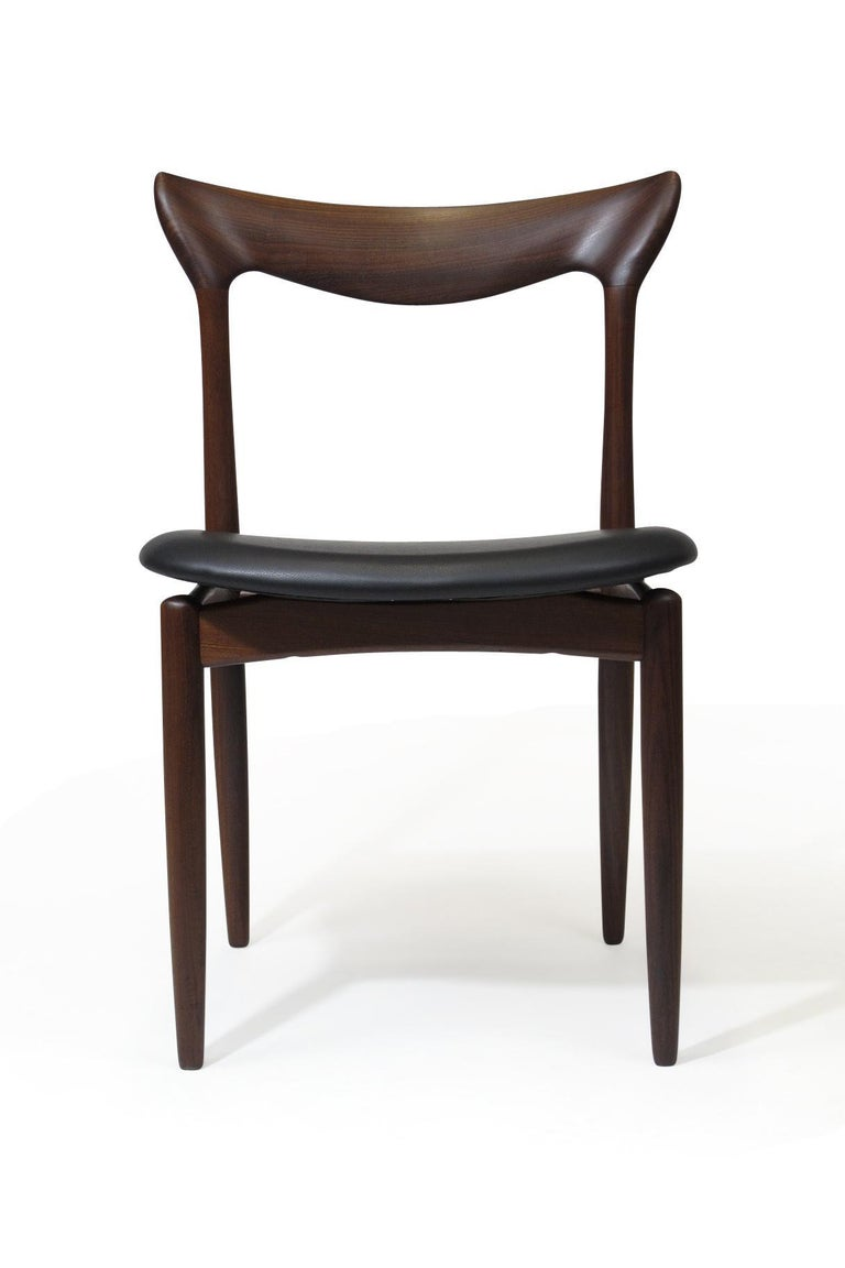Scandinavian Modern H.W. Klein Sculpted Back Dining Chairs of Walnut, Set of Six