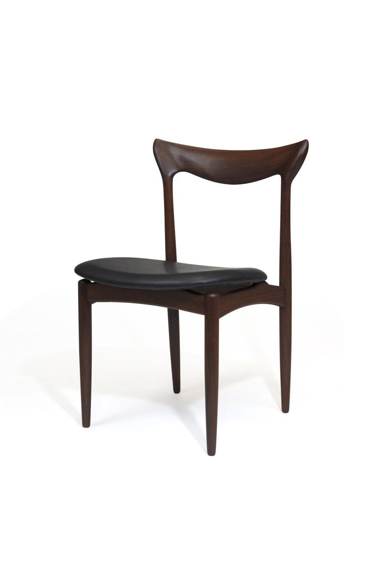 Oiled H.W. Klein Sculpted Back Dining Chairs of Walnut, Set of Six