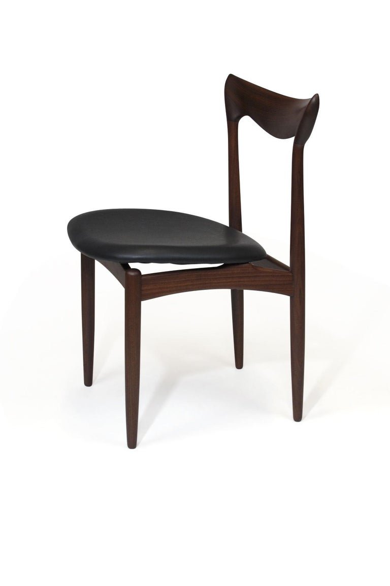 H.W. Klein Sculpted Back Dining Chairs of Walnut, Set of Six In Excellent Condition In Berkeley, CA