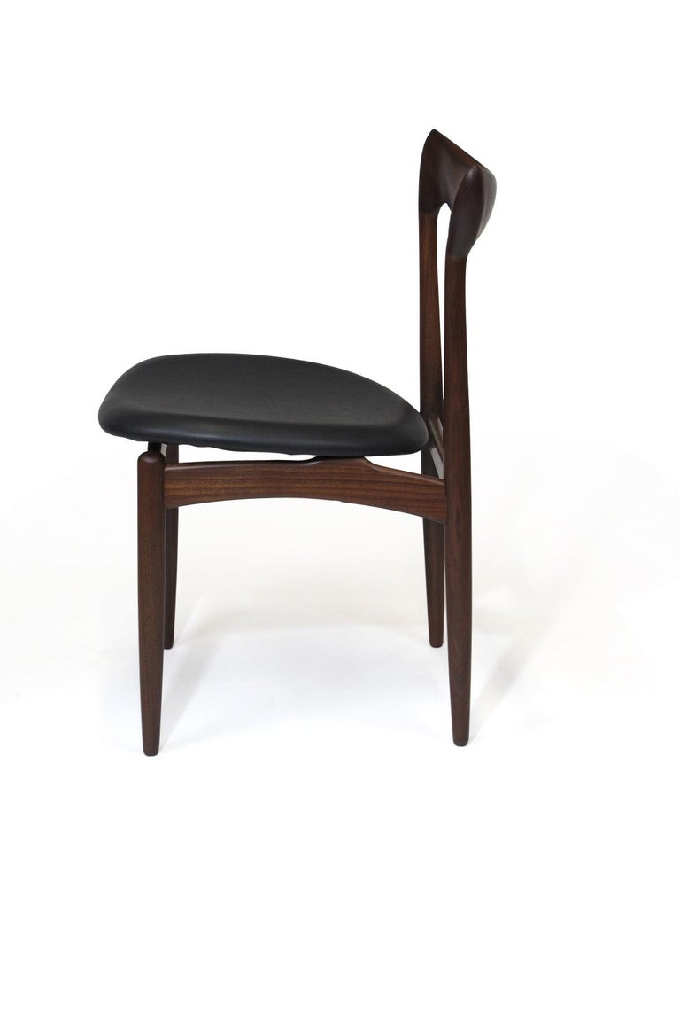 20th Century H.W. Klein Sculpted Back Dining Chairs of Walnut, Set of Six