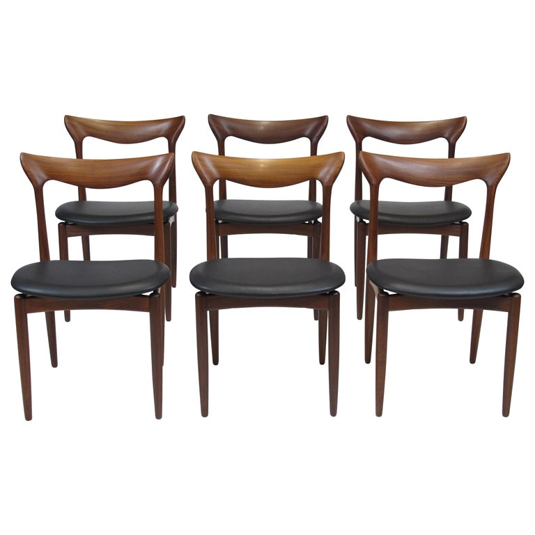 H.W. Klein Sculpted Back Dining Chairs of Walnut, Set of Six