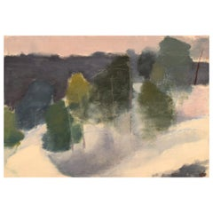 H.W., Swedish Painter, Oil on Canvas, Modernist Winter Landscape, 1960s