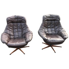 H.W.Klein Lotus Leather Lounge Chairs, 1960s Danish Midcentury Design
