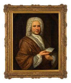 Portrait Paint Oil on canvas 18th French Composer Michel De La Barre Rigaud