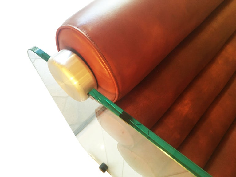 Hyaline Chair Lounge Glass and Leather, 1974 For Sale 12