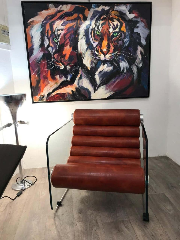 Italian Hyaline Chair Lounge Glass and Leather, 1974 For Sale