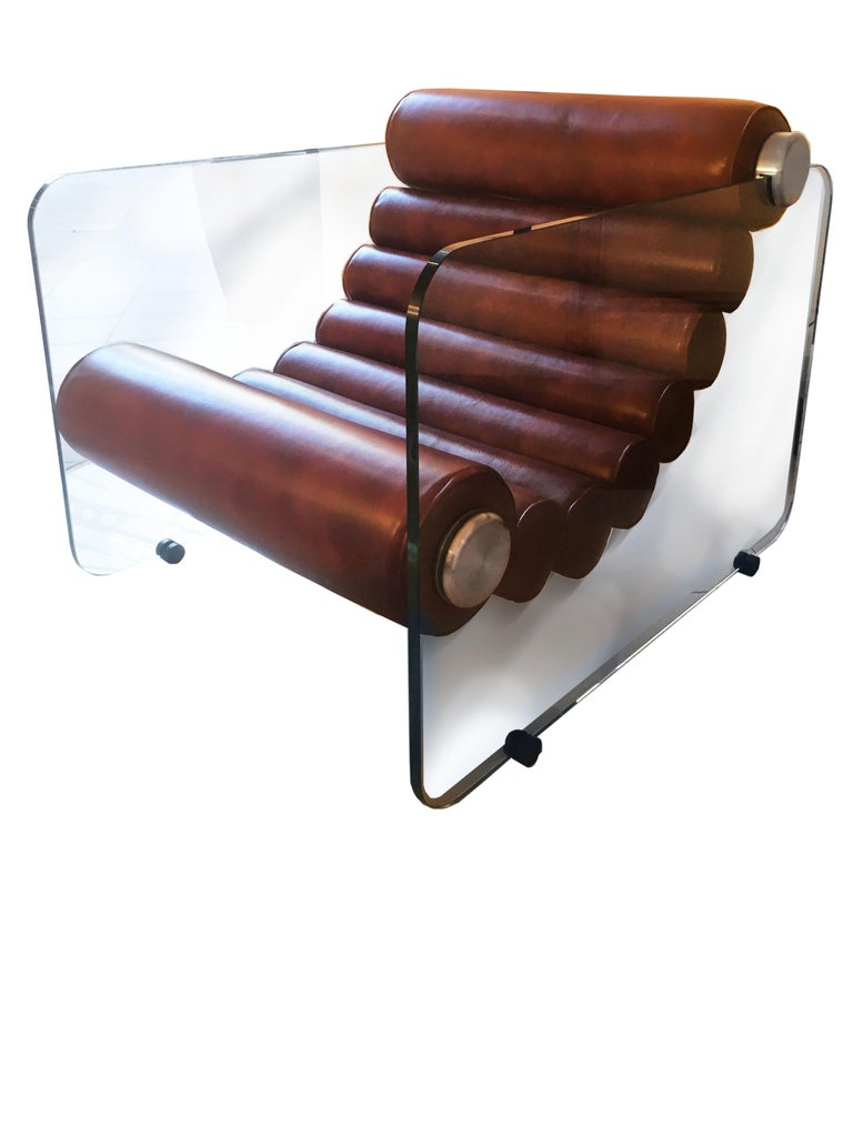 Mid-20th Century Hyaline Chair Lounge Glass and Leather, 1974 For Sale