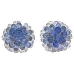 Hydrangea Briolette Floral Sapphire Cluster Earrings Set in 18 Karat White Gold