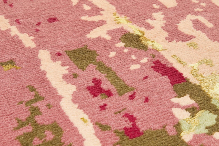 Modern Hydrangea Carpet, Hand Knotted in Wool and Viscose, 60 Knots, Van Eijk For Sale