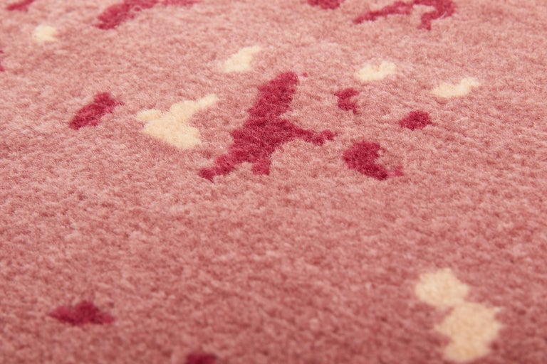 Indian Hydrangea Carpet, Hand Knotted in Wool and Viscose, 60 Knots, Van Eijk For Sale