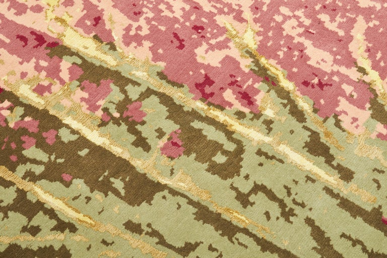 Other Hydrangea Carpet, Hand Knotted in Wool and Viscose, 60 Knots, Van Eijk For Sale