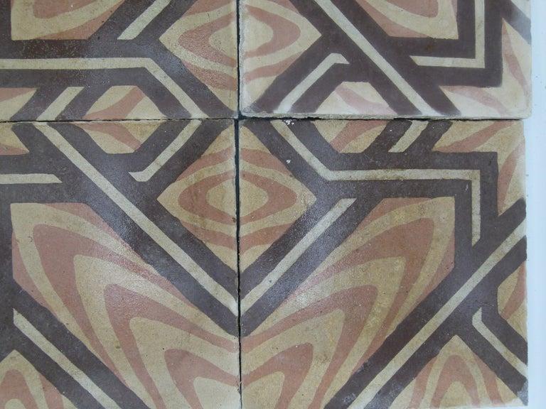 Cement Hydraulic Spanish Art Nouveau Tiles For Sale
