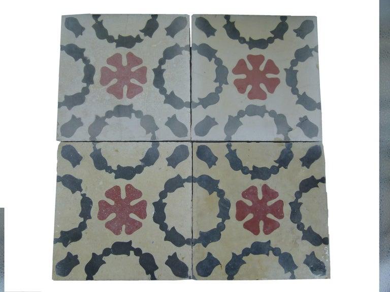 Hydraulic Spanish Art Nouveau Tiles For Sale