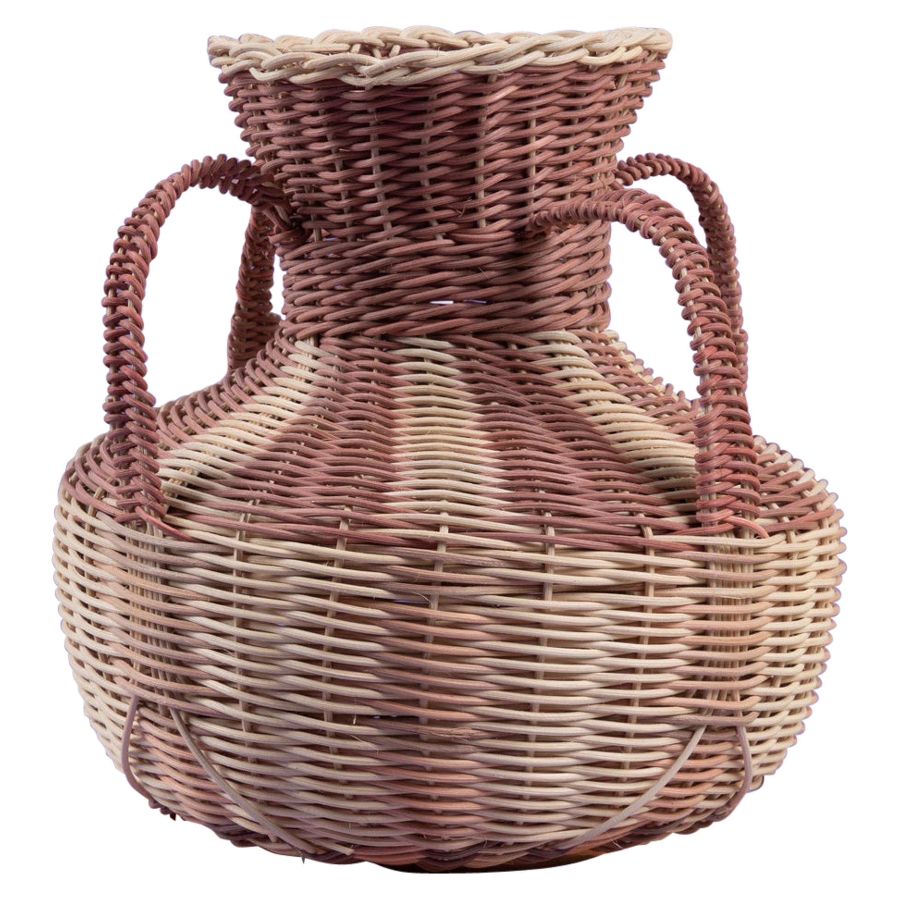 Hydria Vase Woven in Wine and Natural by Studio Herron